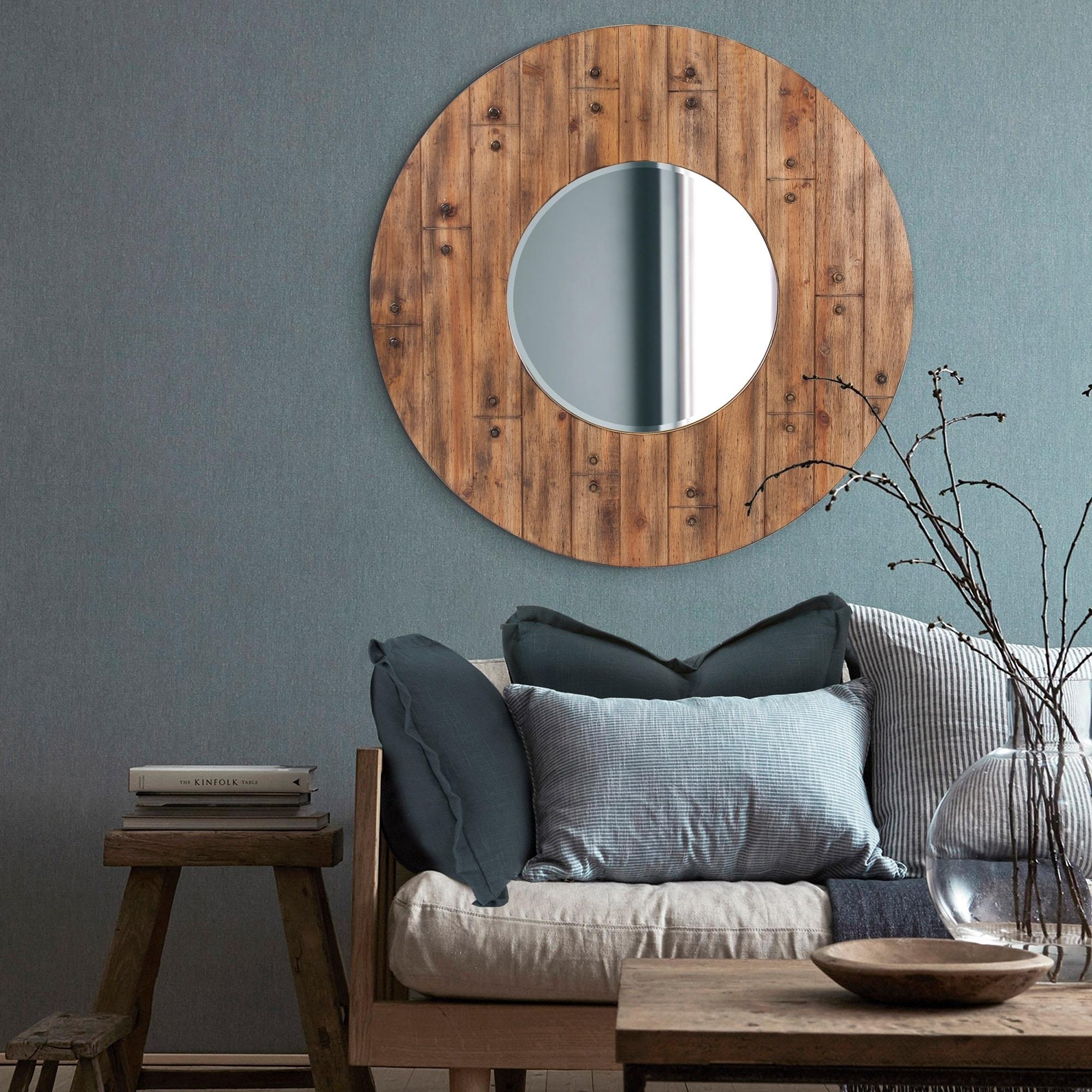 Shop Stein Round Wood Frame Wall Mirror Overstock 25300345