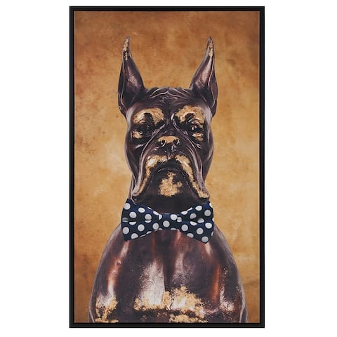 Bow Tie Boxer Canvas Wall Art - Navy