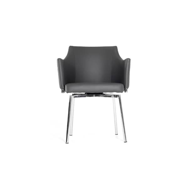 """HomeRoots Furniture 32""""H Modern Grey Upholstered Leatherette Dining Chair with Swivel Seat"""