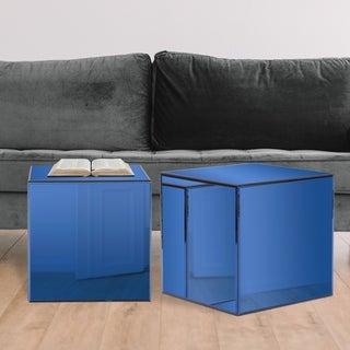Silver Orchid Barrett Blue Mirrored Cube Table
