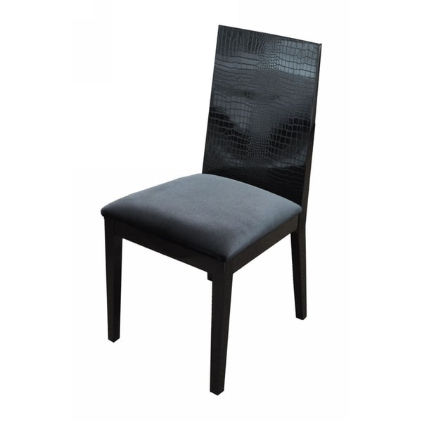 HomeRoots Furniture Black Crocodile Texture Dining Chair with Floss Fabric Seat- Set of 2