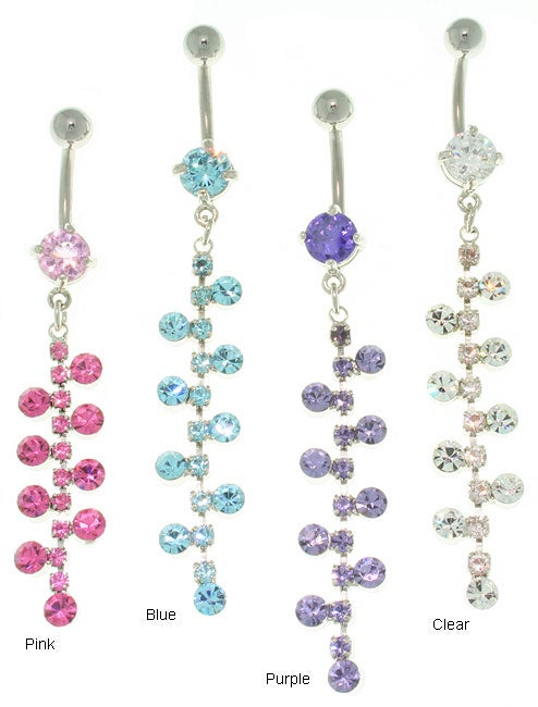 Carolina Glamour Collection Bubble Gem Chain Belly Barbell
