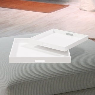 Allan Andrews White Lacquer Square Wood Trays (Set of 2)
