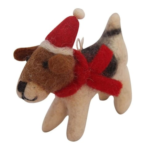 Handmade Beagle Felt Ornament with Santa Hat