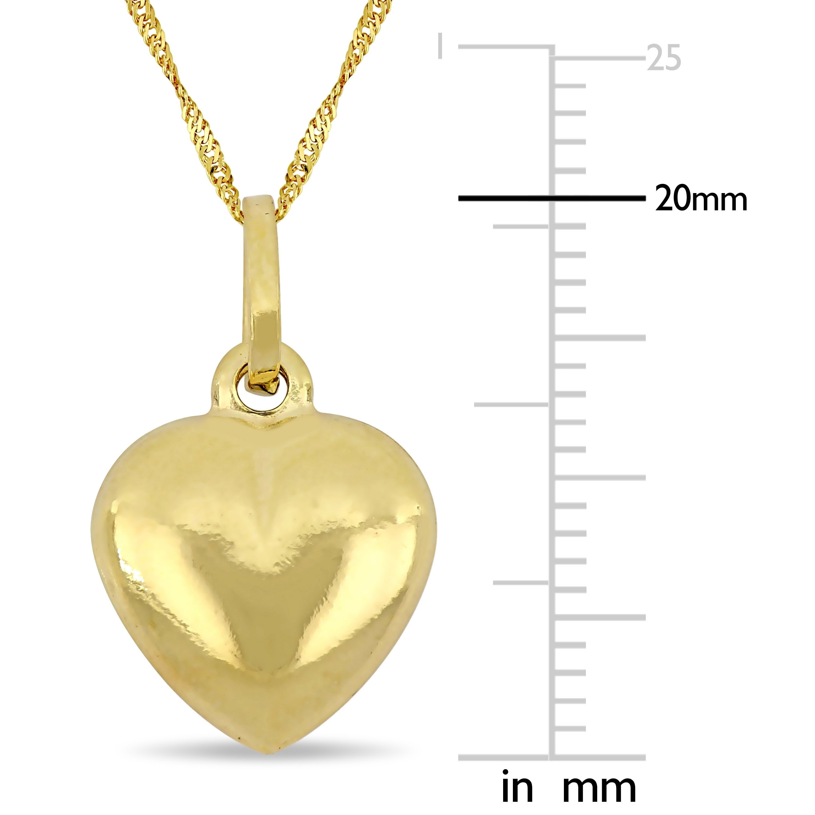 14K Yellow Gold I Love You Heart Charm Pendant with 0.6mm Box Chain Necklace
