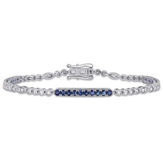 Miadora 14k White Gold Blue Sapphire and 3/4ct TDW Diamond Stationed Bar Tennis Bracelet