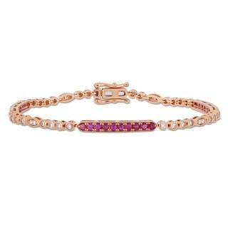 Miadora 14k Rose Gold Ruby and 3/4ct TDW Diamond Stationed Bar Tennis Bracelet