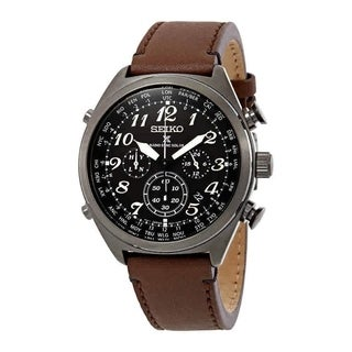 Seiko Men's SSG015 Prospex Radio Sync Black Dial with Brown Leather Strap Solar Watch