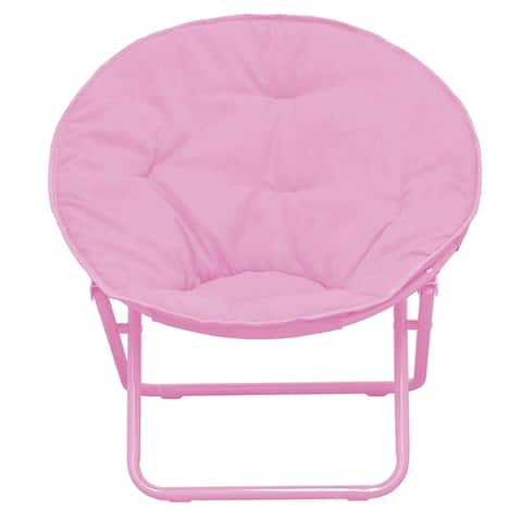 Kids' Solid Color Faux Fur Folding Saucer Chair