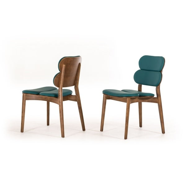 HomeRoots Furniture Modern Turquoise Leatherette Dining Chair with Walnut Finished Ash Wood Frame - Set of 2
