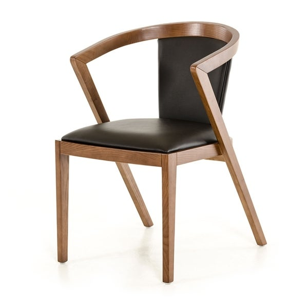 HomeRoots Furniture Modern Black Upholstered Leatherette Dining Chair with Walnut Finished Ash Wood Frame