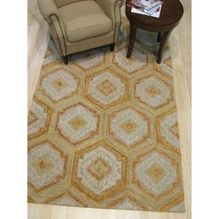 "Hand-tufted Geometric Gold Wool, Rug - 7'9"" x 9'9"""