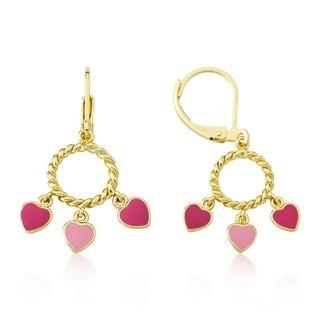 LMTS Pink Enamel Hearts Dangle Earrings