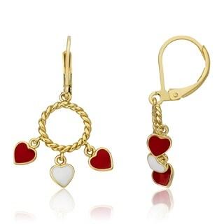 LMTS Red Enamel Hearts Dangle Earrings