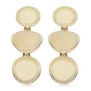 14k Yellow Gold Geometric Disc Drop Earrings