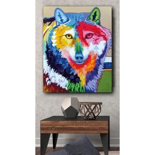 Big Wolf Wrapped Canvas Print - Blue