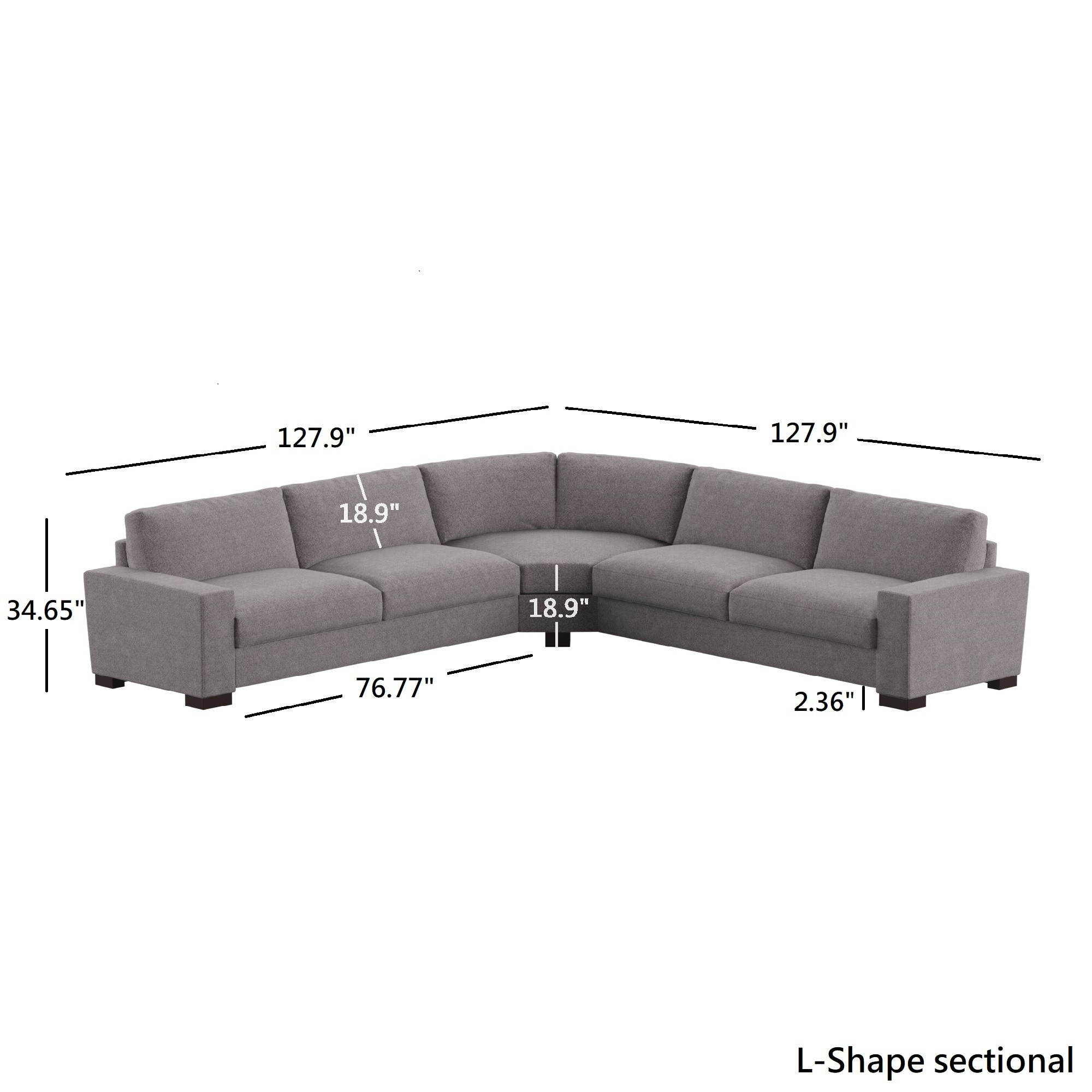 Ashton Grey Fabric Double Sided Down Feather Modular Sectional By Inspire Q Artisan