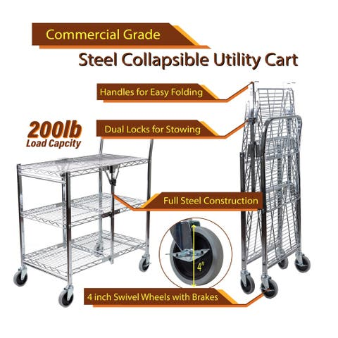 InStyleDesign-3 Tier Heavy Duty Wire Foldable Utility Cart