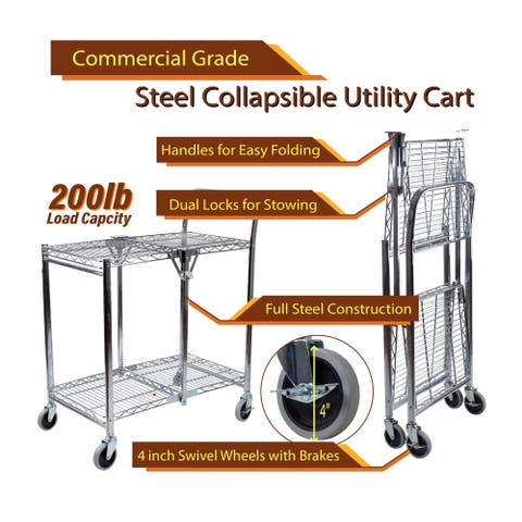 InStyleDesign-2 Tier Heavy Duty Wire Foldable Utility Cart