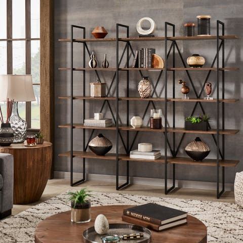 Sayler X-Back Metal Post Bookshelf with Walnut Finish by iNSPIRE Q Artisan