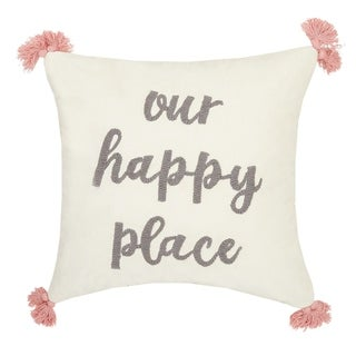 Our Happy Place Tassels Embroidered Pillow By Peking Handicraft