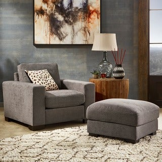 Ashton Grey Fabric Double Sided Down-Feather Filled Chair and Ottoman by iNSPIRE Q Artisan
