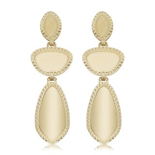14k Yellow Gold Oval Geometric Disc Drop Earrings