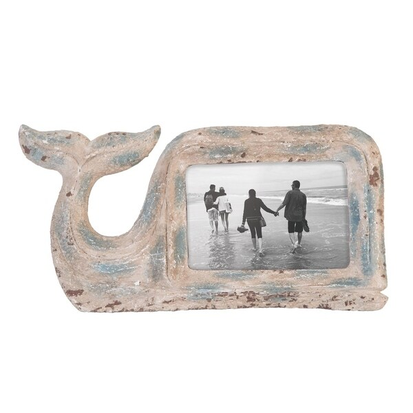 4X6 Carved Whale Photo Frame