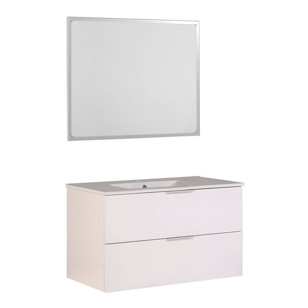 """Luxy 36"""" Bathroom Vanity with Ceramic Sink and Mirror"""
