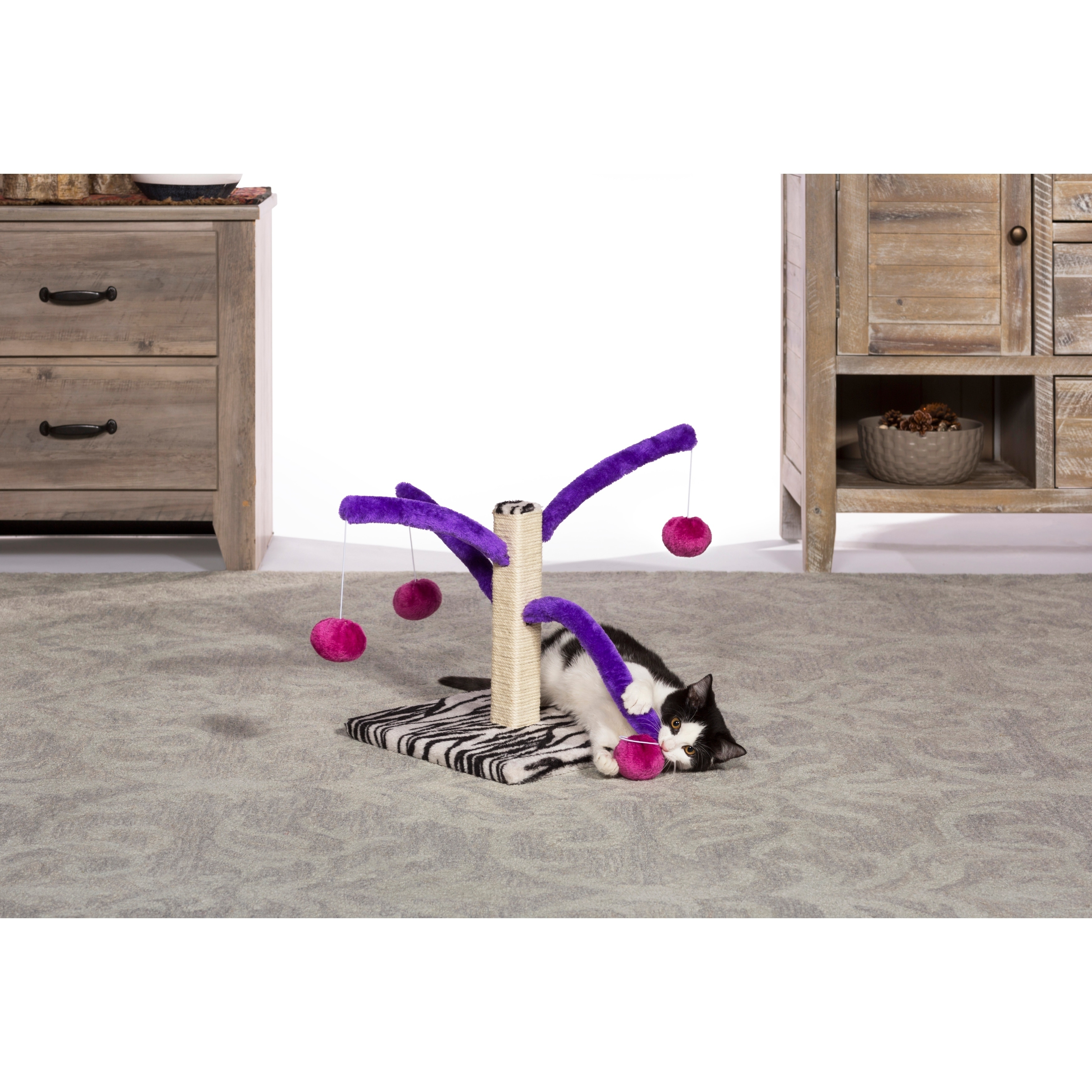 PREVUE PET PRODUCTS Kitty Power Paws Multi-Platform Posts with Tassel Toys Natural