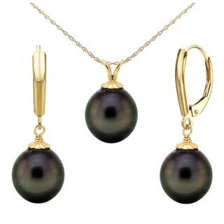 """DaVonna14k Gold 10-10.5mm Black Off-Shape Tahitian Cultured Pearl Pendant and Lever-Back Earrings, 18"""""""