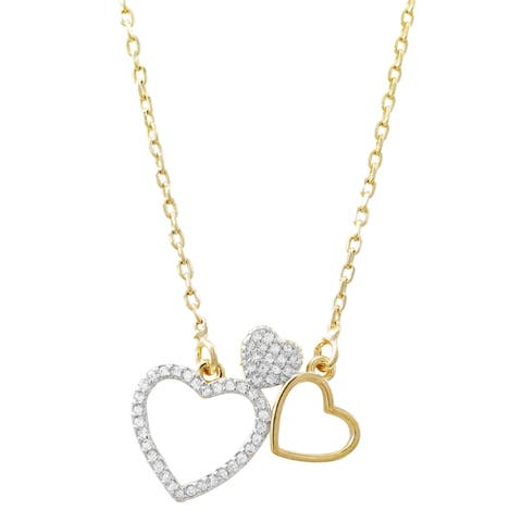 Luxiro Two-tone Finish White Cubic Zirconia Open Heart Necklace