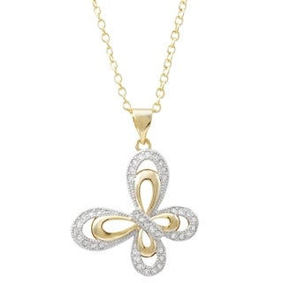 Luxiro Two-tone Finish White Cubic Zirconia Butterfly Pendant Necklace