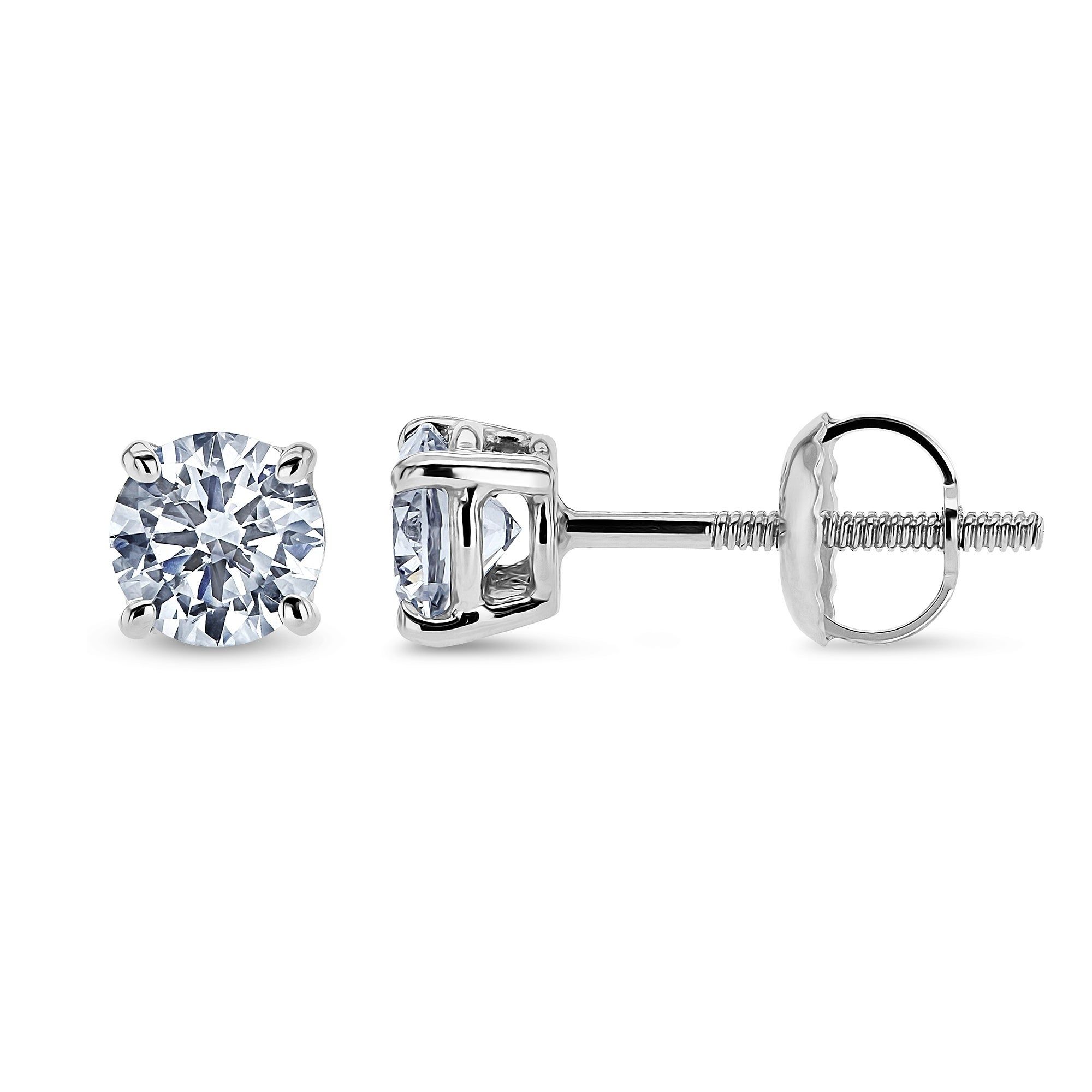 Annello By Kobelli 14k Gold 3 4 Carat Tdw Lab Grown Diamond Round Stud Earrings Ef Vs Igi Certified