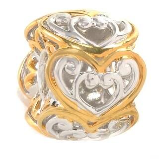 Michael Valitutti Palladium Silver Two-tone Heart Slide-on Charm