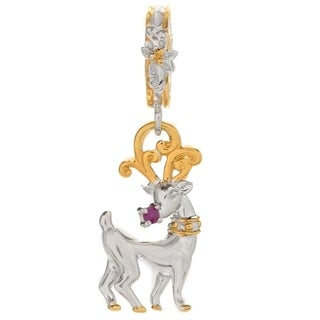 """Michael Valitutti Palladium Silver Ruby """"Rudolph the Red-Nosed Reindeer"""" Drop Charm"""