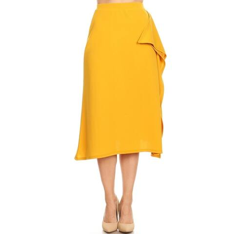 Women's Solid Casual Basic Ruffled Detail Mid-Length Skirt