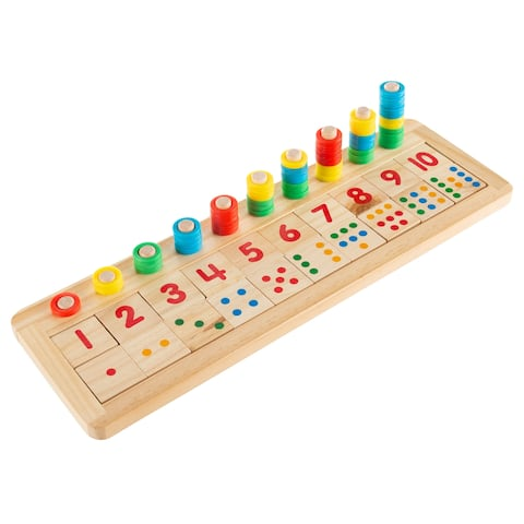 Montessori Math Sorter Wooden Board with Pegs, Number Blocks, Colorful Stacking Rings by Hey! Play!