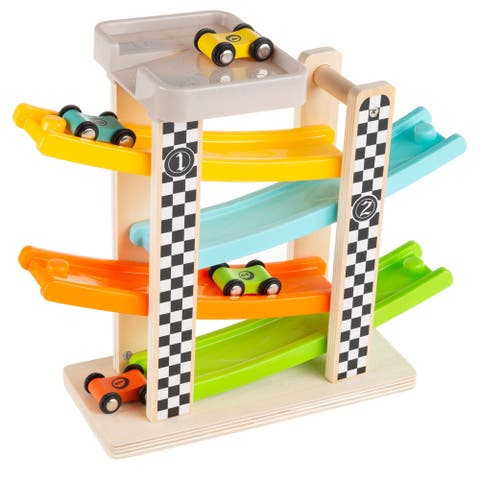 Toy Race Track and Racecar Set Wooden Car Racer with 4 Cars by Hey! Play!
