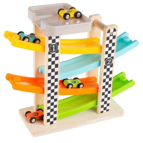 Toy Race Track and Racecar Set Wooden Car Racer with 4 Cars by Hey! Play!. Opens flyout.