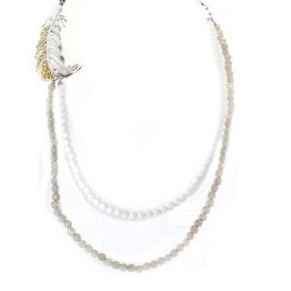 Michael Valitutti Sterling Silver Hematite & Agate Bead Multi Strands Necklace