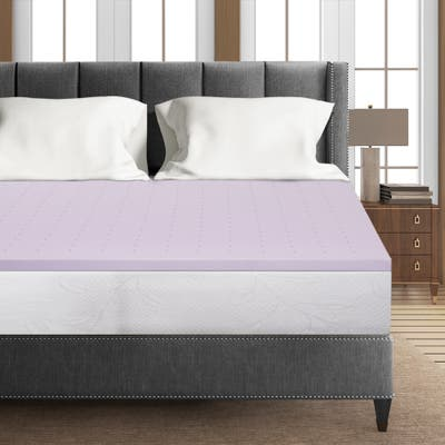 1.5 Inch Lavender Infused Memory Foam Bed Topper Cooling Mattress Pad - Crown Comfort