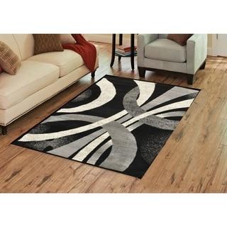Alida Lopped Area Rug 6100 Gray-Black 3' x 5' - 3' x 5'
