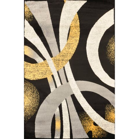 Alida Lopped Area Rug 6100 Gray-Yellow 5' x 7' - 5' x 7'
