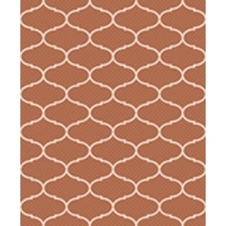 Ribbon Terra/Beige Indoor/Outdoor Flatweave Contemporary Patio, Pool, Camp, and Picnic Rug - 7'10 x 9'10