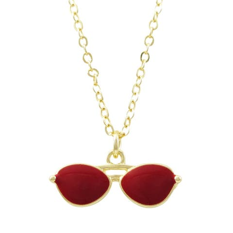 Luxiro Gold Finish Enamel Sunglasses Children's Brooch Necklace