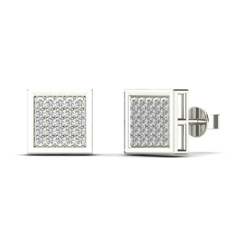 AALILLY Men's 10k White Gold 1/6ct TDW Diamond Square Stud Earrings (H-I, I1-I2)
