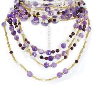 Michael Valitutti Sterling Silver Amethyst, Garnet & Multi Gemstone Beaded Necklace