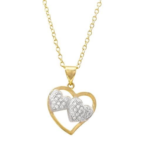 Luxiro Two-tone Finish White Cubic Zirconia Double Heart Pendant Necklace