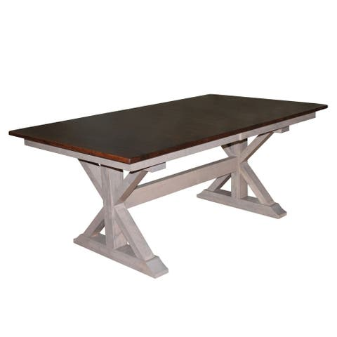 X-Base Double Pedestal 6 Foot Dining Table w/Self Store Extensions